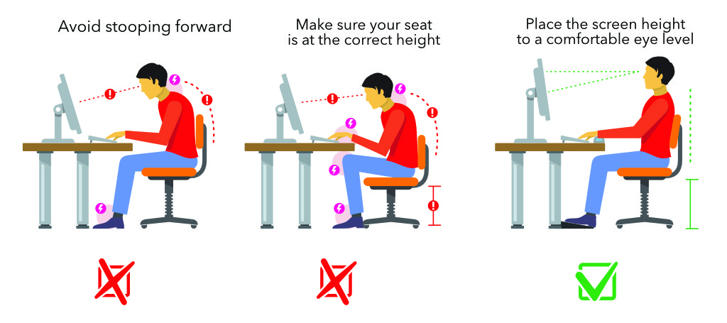 Correct posture at computer desk